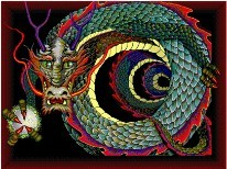 coiled dragon with orb in claw